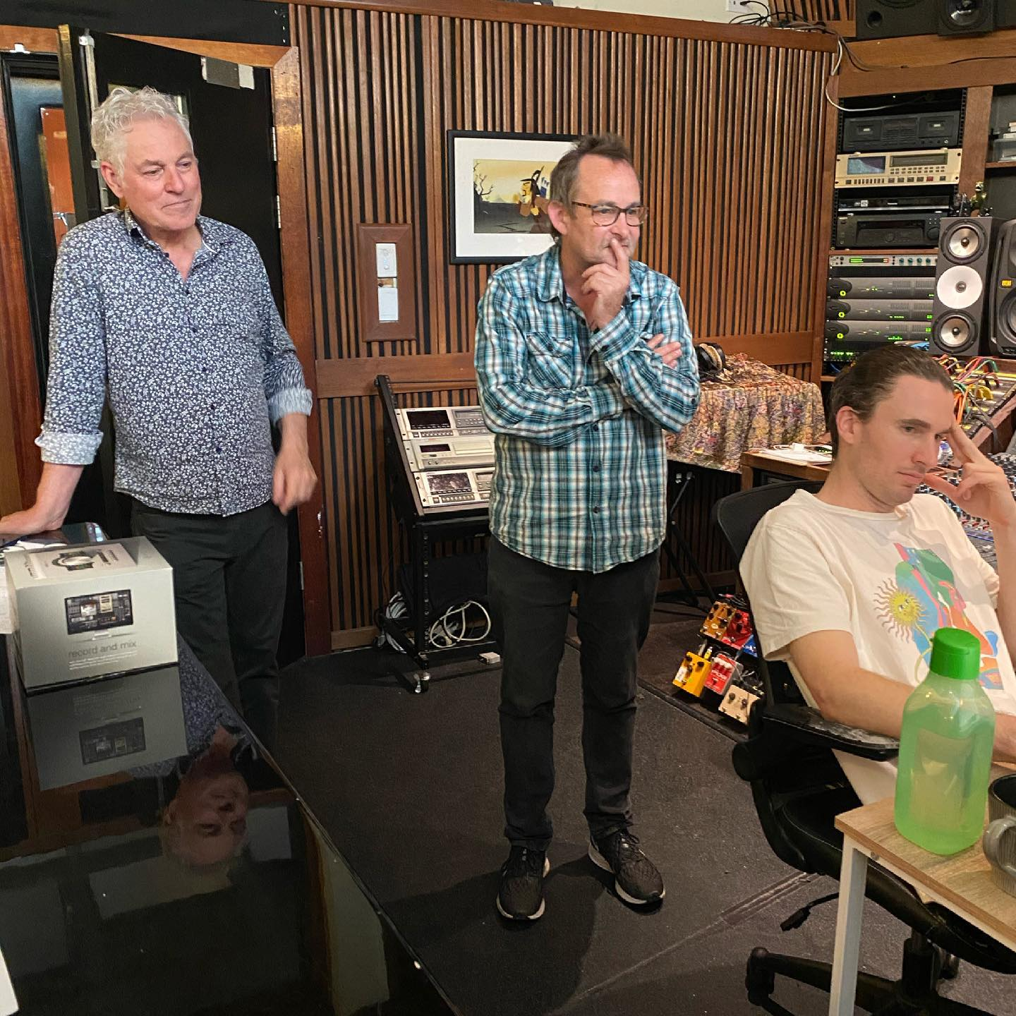 Azure Blue Producer Michael Fix, Co-producer Brendan St Ledger and Engineer Steve Kempnich deep in thought at Airlock.Studios.