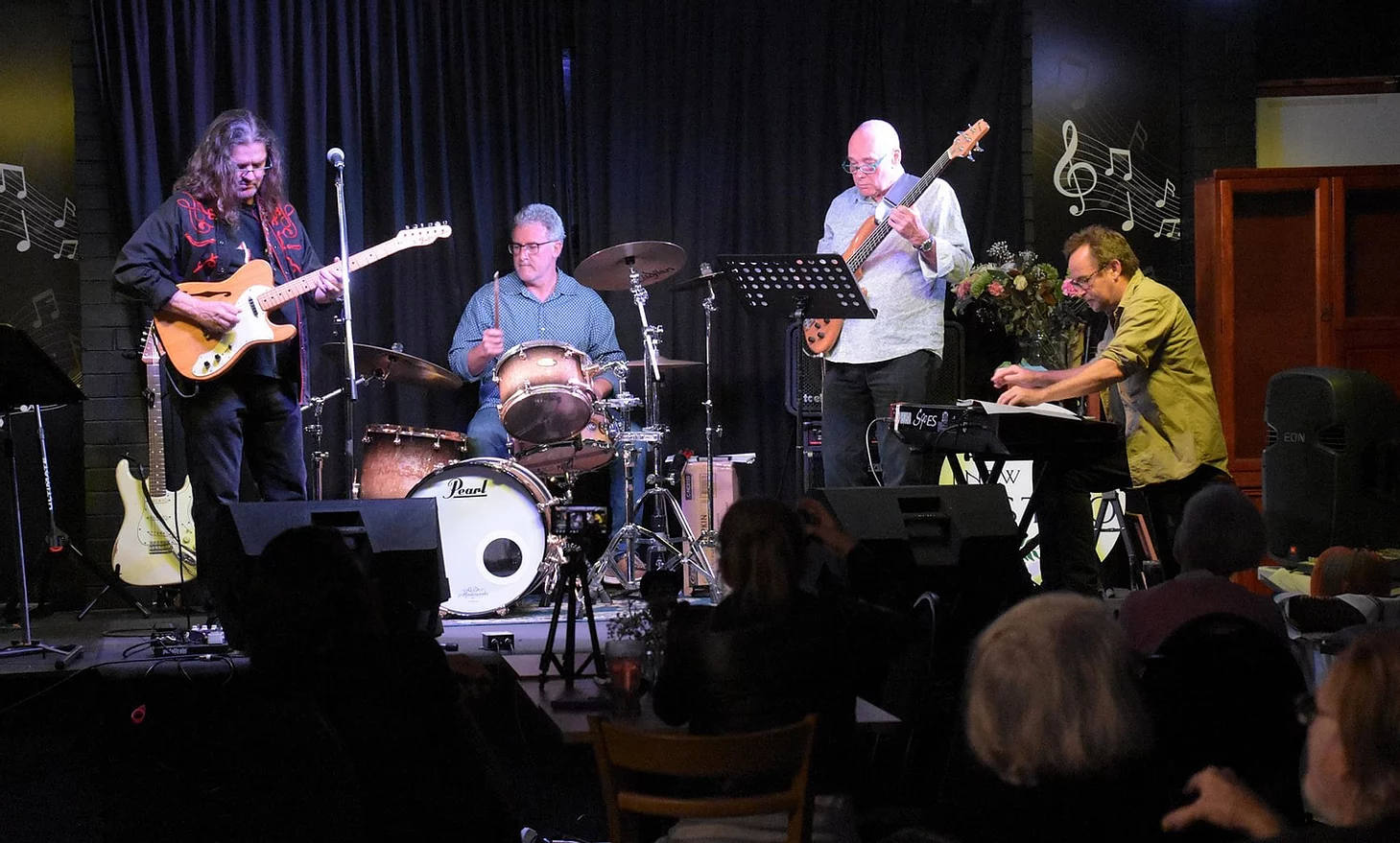 Craig Claxton and his fabulous rhythm section ... sometimes known as The Barbarians at the Azure Blue Album preview. L-R Craig Claxton (guitar & vox), John Postlethwaite (dums), Kevin Howard (bass), Brendan St Ledger (keyboards).
